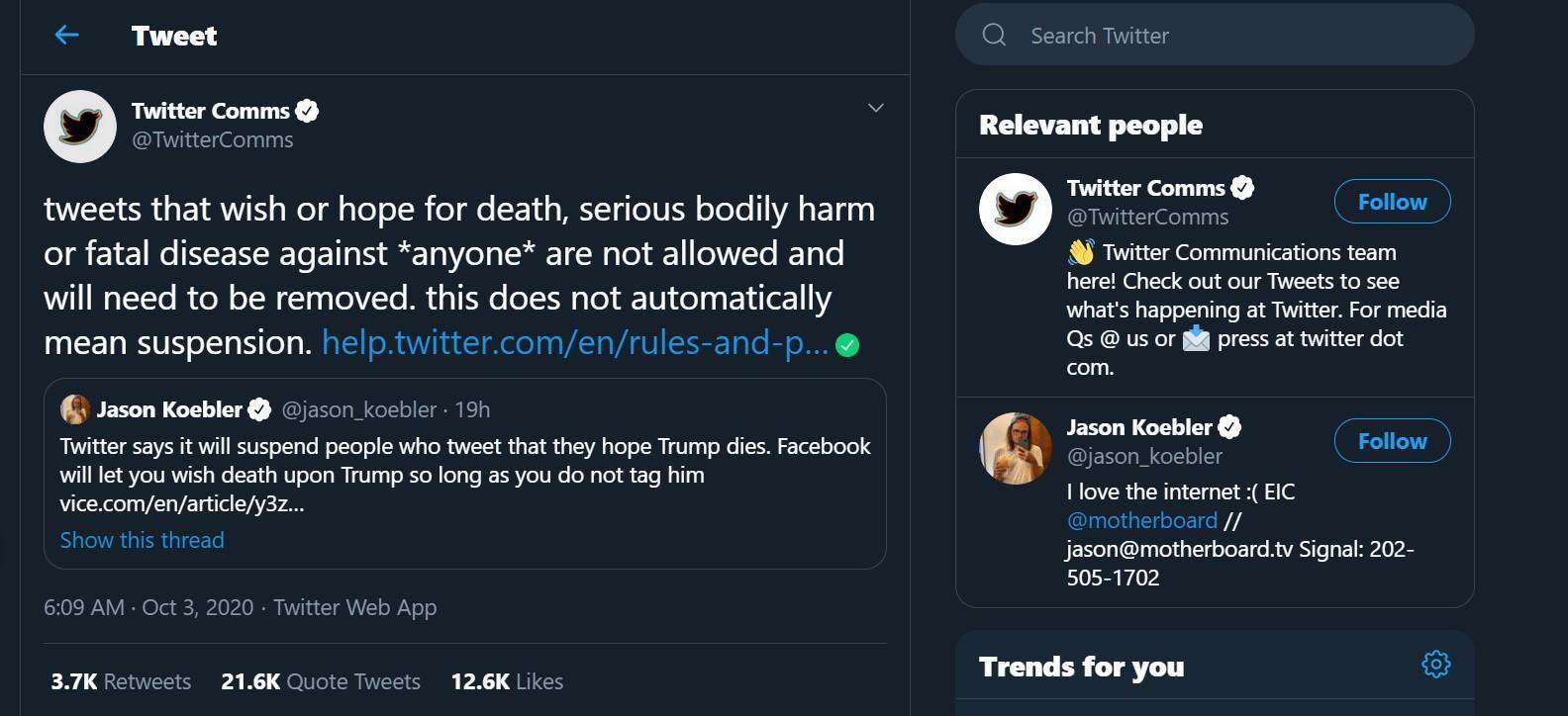 Doakan Trump Meninggal Karena Corona, Akun Tersebut Siap Diblokir Twitter