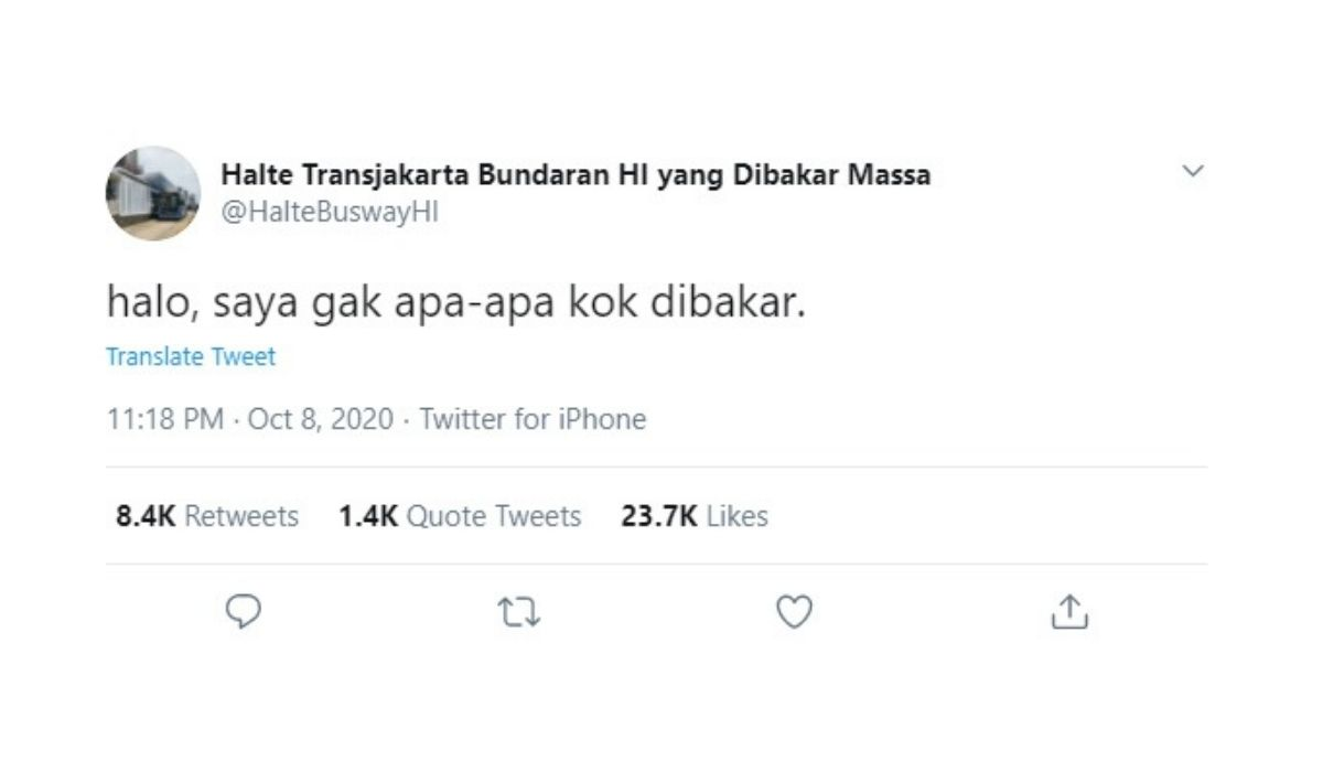 Halte Transjakarta HI yang Dibakar Kini Punya Akun Twitter Sendiri