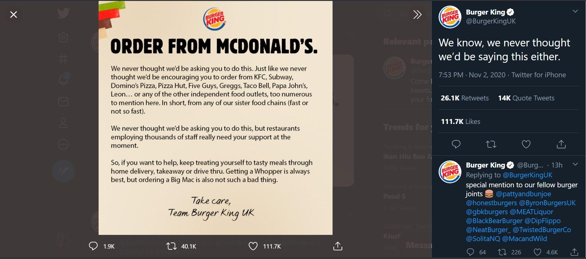 Burger King Suruh Pelanggannya Pesan McDonald's, Kenapa?