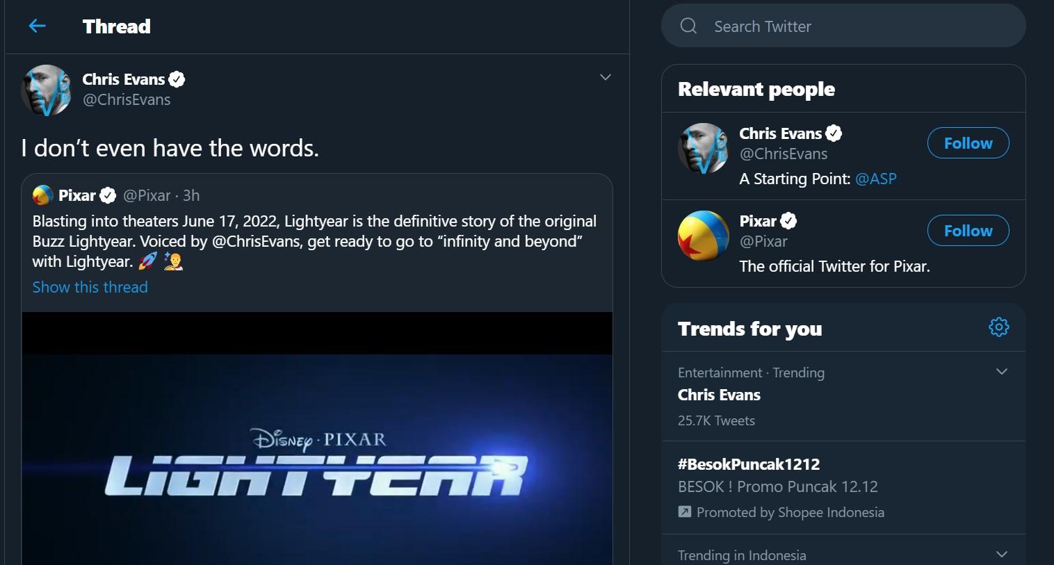 Chris Evans Jadi Pengisi Suara Buzz Lightyear Di Film Terbaru Pixar Tahun 2022!
