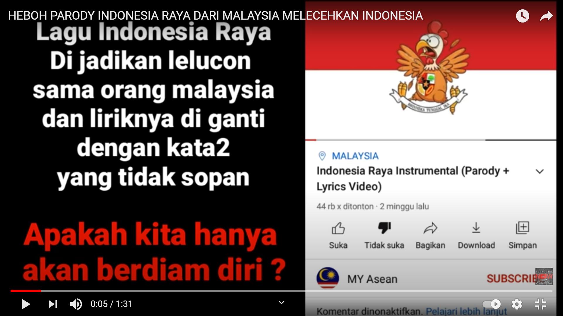 Indonesia Raya Dijadikan Parodi Mendadak Viral, Pemerintah Malaysia Siap Mengusut Tuntas