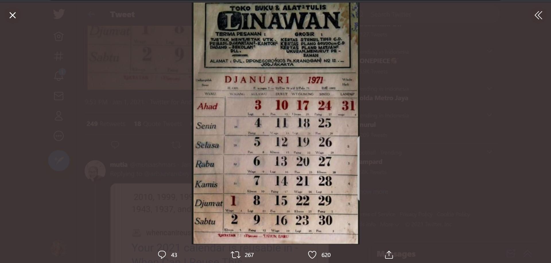 Kalender 1971 Bisa Dipakai di Tahun 2021? Beneran Sama Persis?