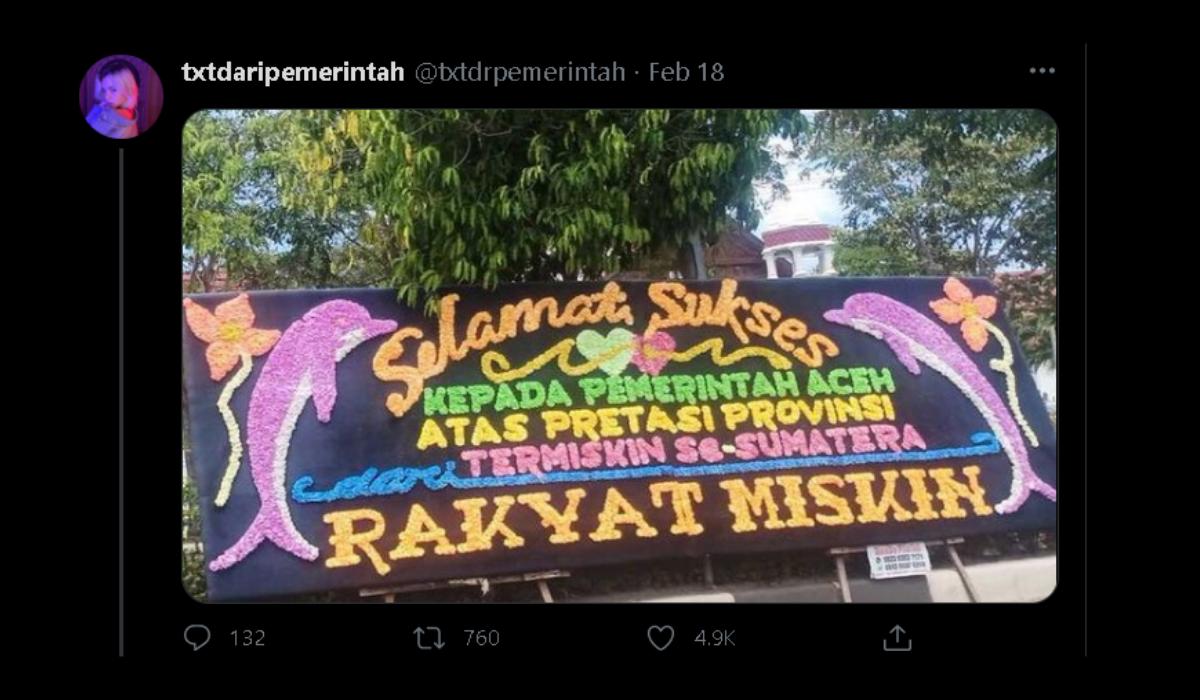 Aceh Jadi Provinsi Termiskin Sumatera Barat, Kantor Gubernur Banjir Papan Ucapan Selamat