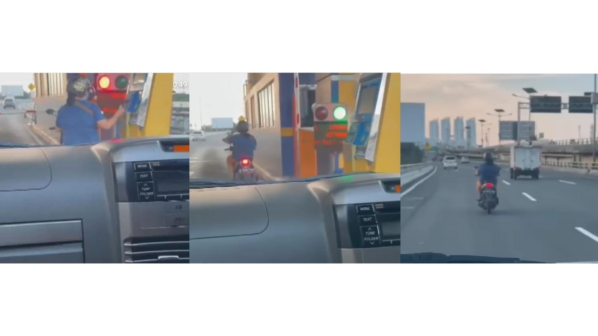 Kayak Gak Ada Dosa, Perempuan Ini Naik Motor Masuk Tol, Ikut Tap Kartu Elektronik!