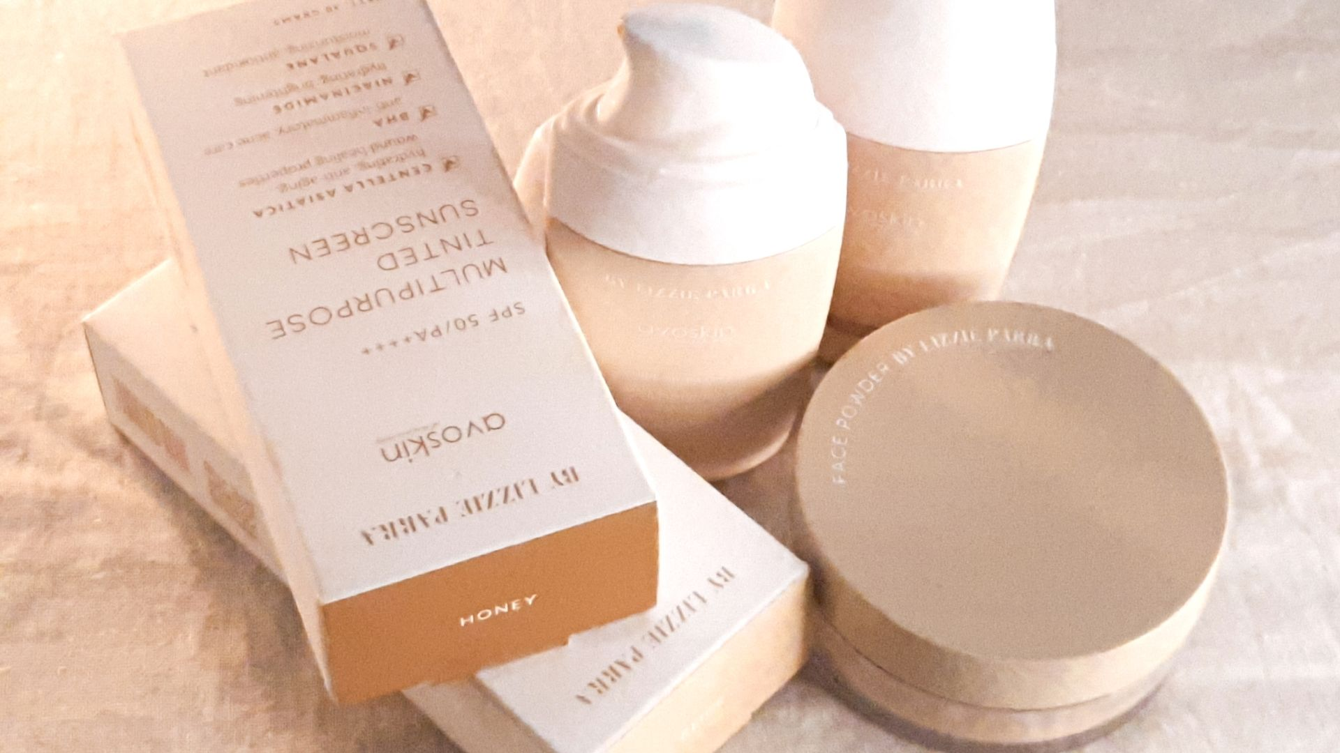 BLP x Avoskin tinted sunscreen and face powder