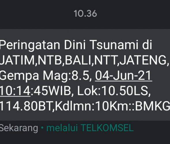 SMS Peringatan Tsunami, BMKG Ternyata Kesalahan Sistem!