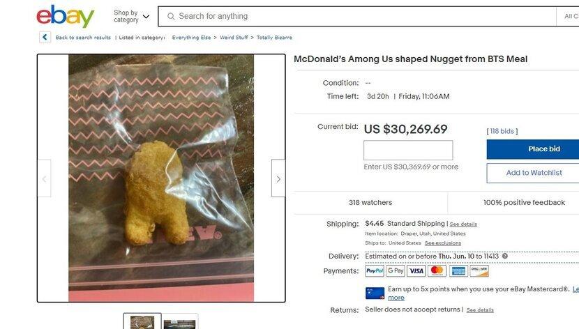 Chicken Nugget dari Menu McDonalds x BTS Terjual dengan Nilai Hampir Rp50 Juta