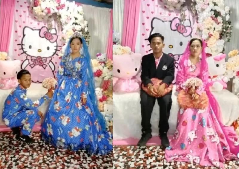 Pasangan Indonesia Menikah dengan Tema Hello Kitty, Jadi Sorotan Asing