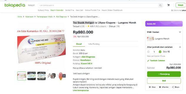Penjualan Tes Swab Antigen Murah Bakal Dilarang di Tokopedia