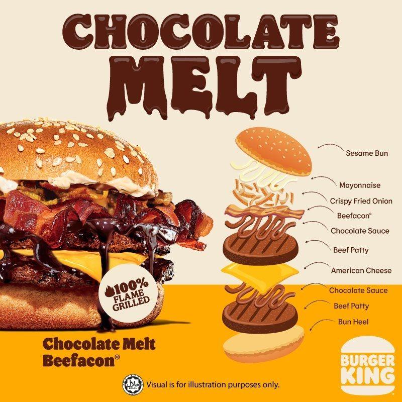 Burger King Malaysia akan segera meluncurkan burger dan sandwich ayam baru.  Namun beda dengan burger dan sandwich pada umumnya, menu baru tersebut akan dilumuri saus cokelat.