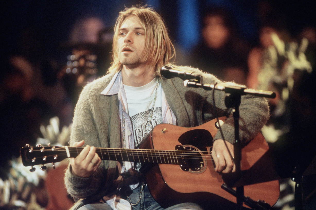 """Kurt Cobain of Nirvana during the taping of MTV's """"Unplugged"""" at Sony Studios in New York City, on Nov. 18, 1993."""