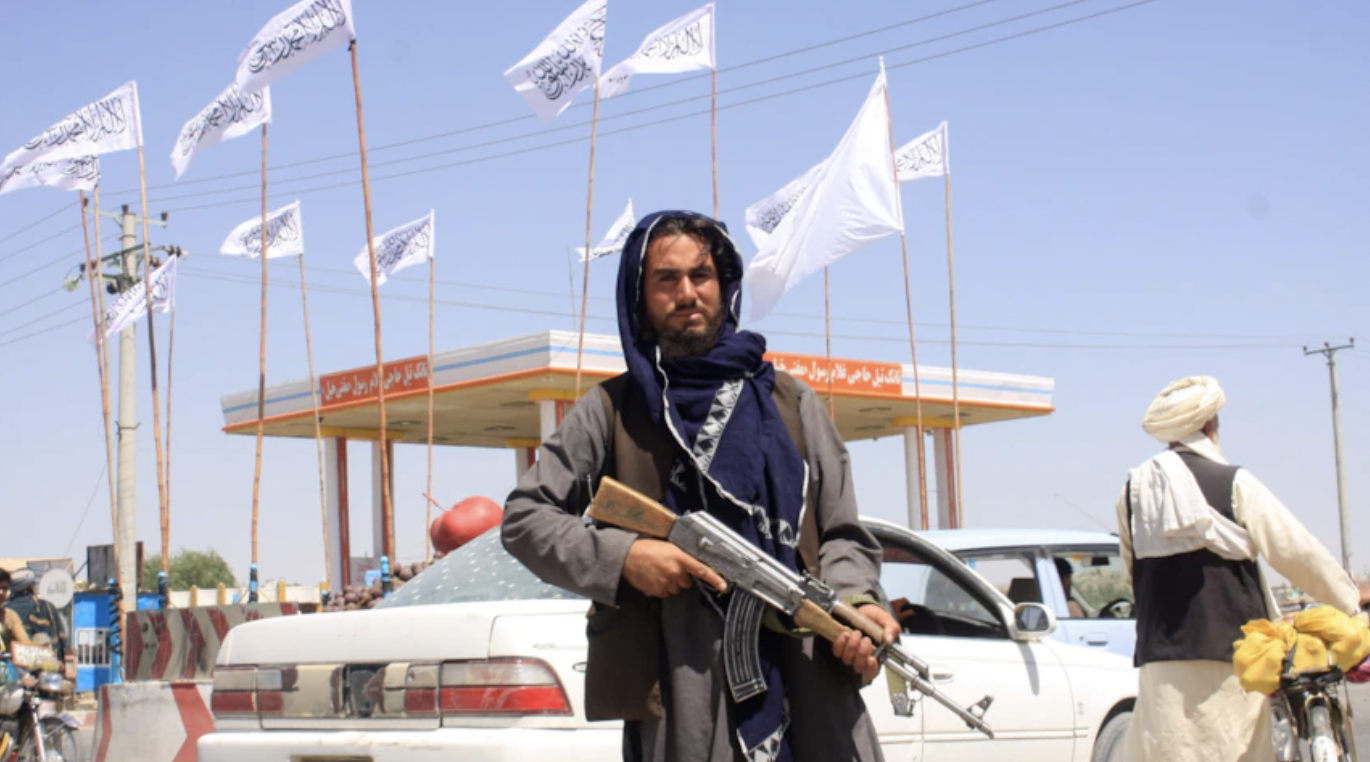 Taliban fighters take control of the Afghan presidential palace in Kabul, Afghanistan, on August 15, 2021