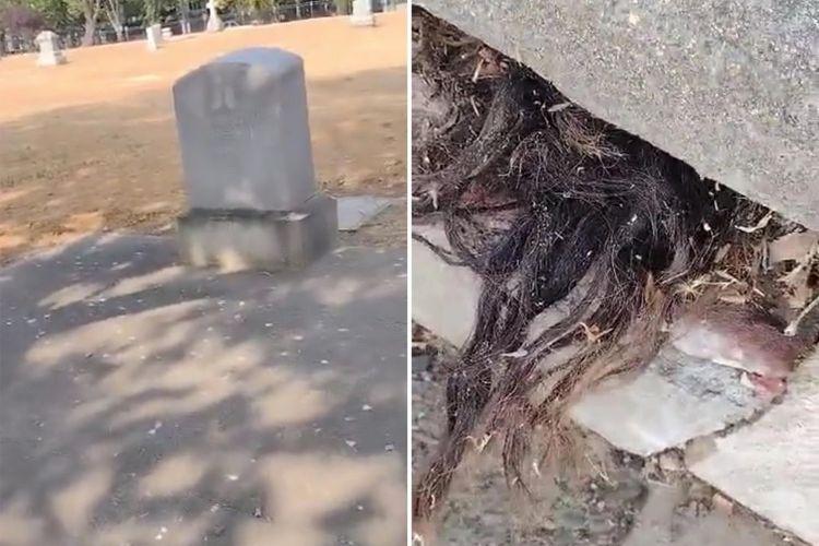 Kuburan Tua Mengeluarkan Rambut, Netizen Langsung Heboh